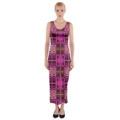 Mod Pink Purple Yellow Square Pattern Fitted Maxi Dress
