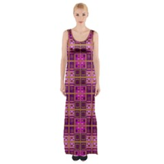 Mod Pink Purple Yellow Square Pattern Maxi Thigh Split Dress