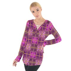 Mod Pink Purple Yellow Square Pattern Tie Up Tee