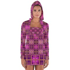 Mod Pink Purple Yellow Square Pattern Long Sleeve Hooded T Shirt