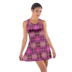 Mod Pink Purple Yellow Square Pattern Cotton Racerback Dress