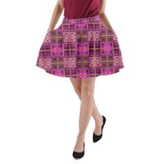 Mod Pink Purple Yellow Square Pattern A Line Pocket Skirt
