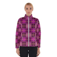 Mod Pink Purple Yellow Square Pattern Winter Jacket