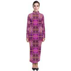 Mod Pink Purple Yellow Square Pattern Turtleneck Maxi Dress