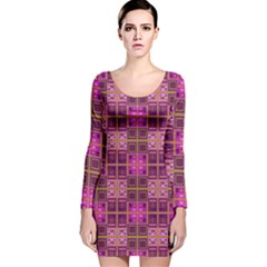 Mod Pink Purple Yellow Square Pattern Long Sleeve Velvet Bodycon Dress