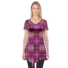 Mod Pink Purple Yellow Square Pattern Short Sleeve Tunic