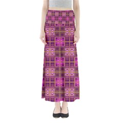 Mod Pink Purple Yellow Square Pattern Full Length Maxi Skirt