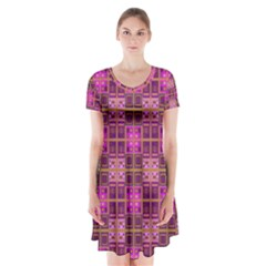 Mod Pink Purple Yellow Square Pattern Short Sleeve V Neck Flare Dress