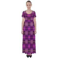 Mod Pink Purple Yellow Square Pattern High Waist Short Sleeve Maxi Dress