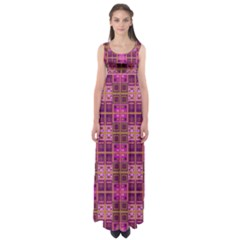 Mod Pink Purple Yellow Square Pattern Empire Waist Maxi Dress