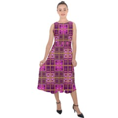Mod Pink Purple Yellow Square Pattern Midi Tie Back Chiffon Dress