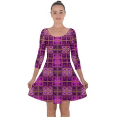 Mod Pink Purple Yellow Square Pattern Quarter Sleeve Skater Dress