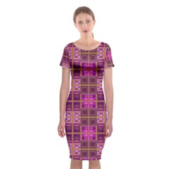 Mod Pink Purple Yellow Square Pattern Classic Short Sleeve Midi Dress