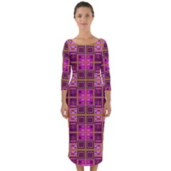 Mod Pink Purple Yellow Square Pattern Quarter Sleeve Midi Bodycon Dress