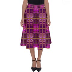 Mod Pink Purple Yellow Square Pattern Perfect Length Midi Skirt