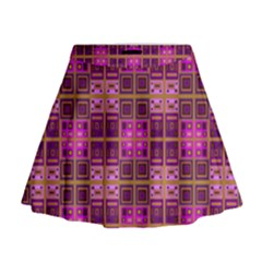 Mod Pink Purple Yellow Square Pattern Mini Flare Skirt