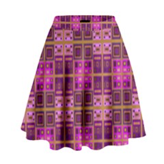 Mod Pink Purple Yellow Square Pattern High Waist Skirt