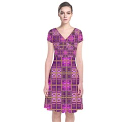 Mod Pink Purple Yellow Square Pattern Short Sleeve Front Wrap Dress