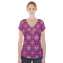 Mod Pink Purple Yellow Square Pattern Short Sleeve Front Detail Top