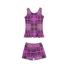 Mod Pink Purple Yellow Square Pattern Kid s Boyleg Swimsuit