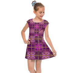 Mod Pink Purple Yellow Square Pattern Kids Cap Sleeve Dress