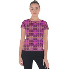 Mod Pink Purple Yellow Square Pattern Short Sleeve Sports Top