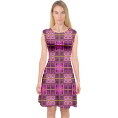 Mod Pink Purple Yellow Square Pattern Capsleeve Midi Dress