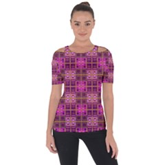 Mod Pink Purple Yellow Square Pattern Shoulder Cut Out Short Sleeve Top