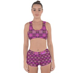 Mod Pink Purple Yellow Square Pattern Racerback Boyleg Bikini Set