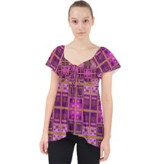 Mod Pink Purple Yellow Square Pattern Lace Front Dolly Top
