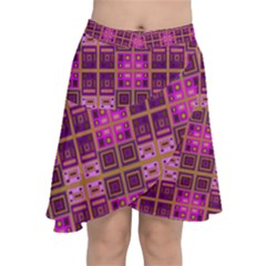 Mod Pink Purple Yellow Square Pattern Chiffon Wrap Front Skirt