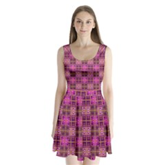 Mod Pink Purple Yellow Square Pattern Split Back Mini Dress
