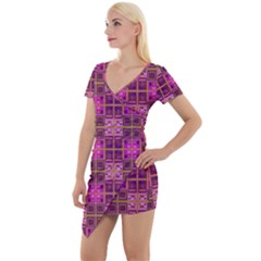 Mod Pink Purple Yellow Square Pattern Short Sleeve Asymmetric Mini Dress