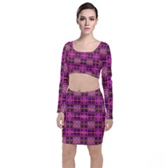 Mod Pink Purple Yellow Square Pattern Top And Skirt Sets