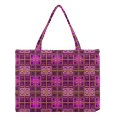 Mod Pink Purple Yellow Square Pattern Medium Tote Bag
