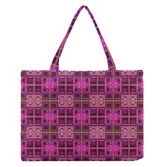 Mod Pink Purple Yellow Square Pattern Zipper Medium Tote Bag