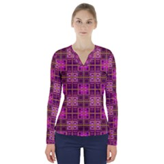 Mod Pink Purple Yellow Square Pattern V Neck Long Sleeve Top