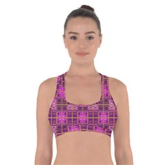 Mod Pink Purple Yellow Square Pattern Cross Back Sports Bra