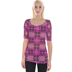 Mod Pink Purple Yellow Square Pattern Wide Neckline Tee