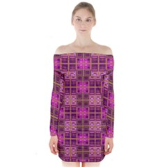 Mod Pink Purple Yellow Square Pattern Long Sleeve Off Shoulder Dress