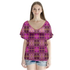 Mod Pink Purple Yellow Square Pattern V Neck Flutter Sleeve Top