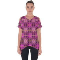 Mod Pink Purple Yellow Square Pattern Cut Out Side Drop Tee