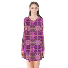 Mod Pink Purple Yellow Square Pattern Long Sleeve V Neck Flare Dress