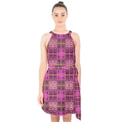 Mod Pink Purple Yellow Square Pattern Halter Collar Waist Tie Chiffon Dress