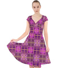 Mod Pink Purple Yellow Square Pattern Cap Sleeve Front Wrap Midi Dress