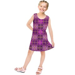 Mod Pink Purple Yellow Square Pattern Kids  Tunic Dress