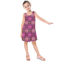 Mod Pink Purple Yellow Square Pattern Kids  Sleeveless Dress