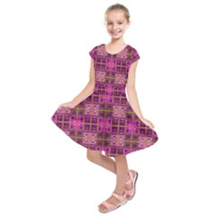 Mod Pink Purple Yellow Square Pattern Kids  Short Sleeve Dress