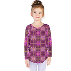 Mod Pink Purple Yellow Square Pattern Kids  Long Sleeve Tee