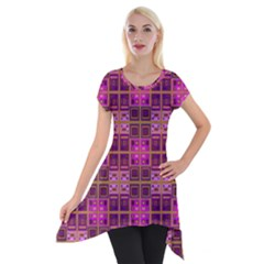 Mod Pink Purple Yellow Square Pattern Short Sleeve Side Drop Tunic